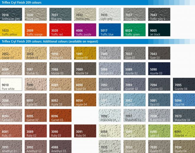 Triflex car park colour card